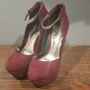 Scene by Shoedazzle burgundy suede shoes